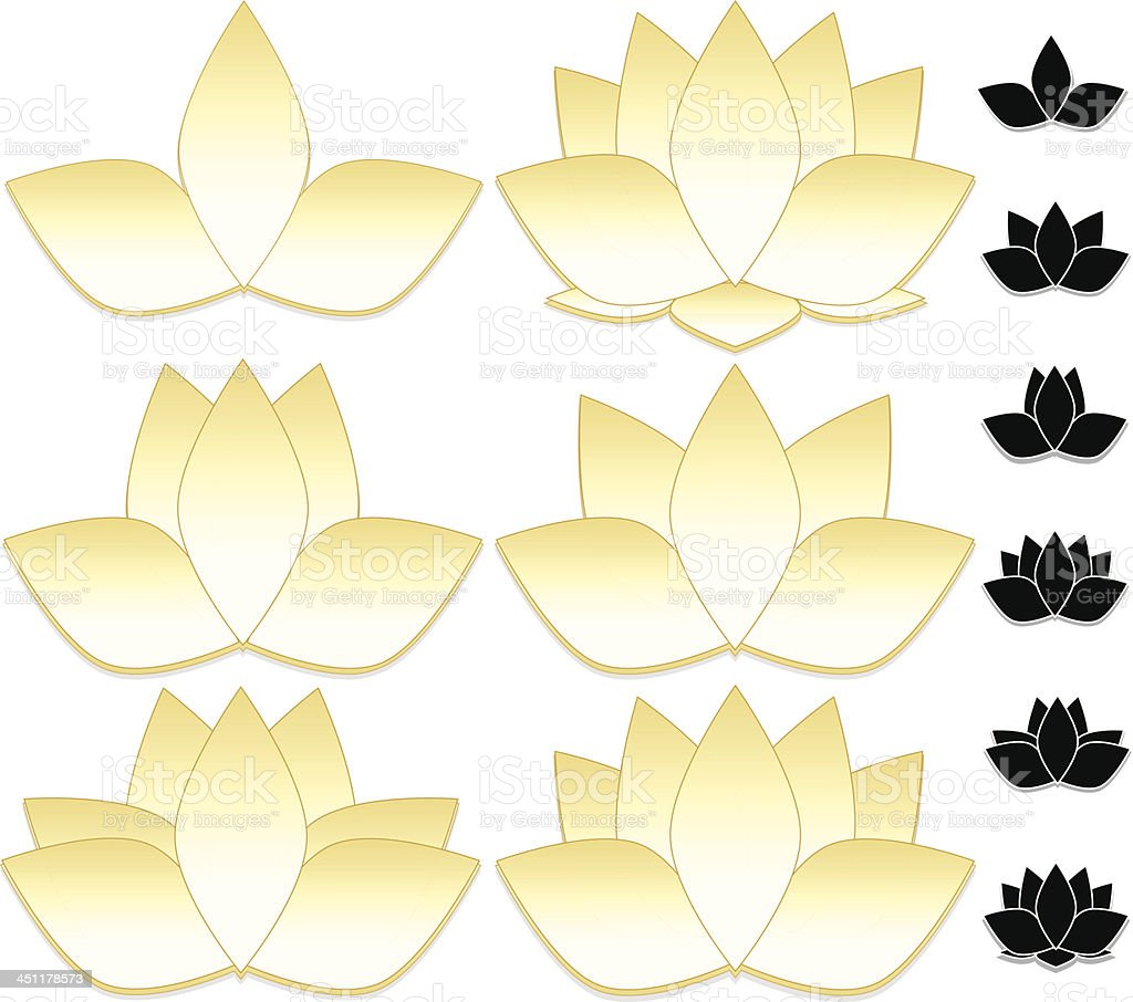 Lotus Flowers, Water Lilies Set (Gold, White), and Icons royalty-free stock vector art