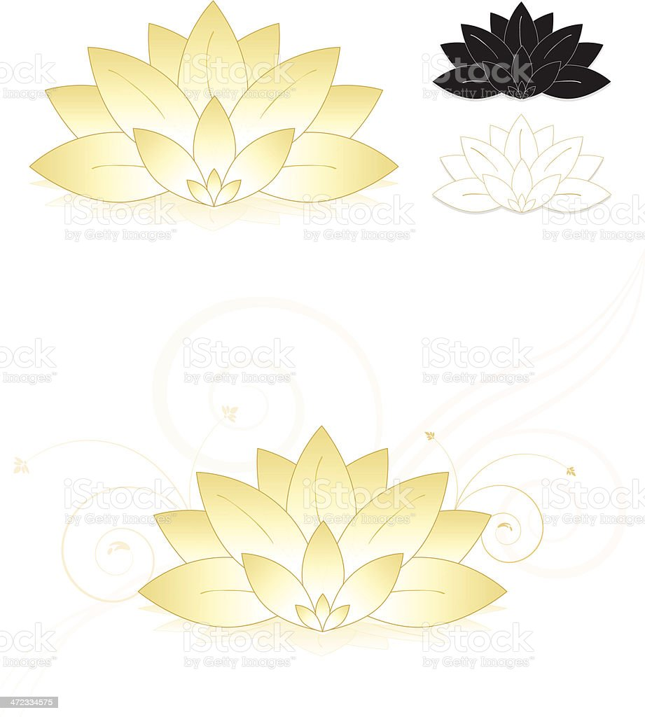 Lotus Flowers, Water Lilies Set (Gold, White), Icons, Optional Background royalty-free stock vector art