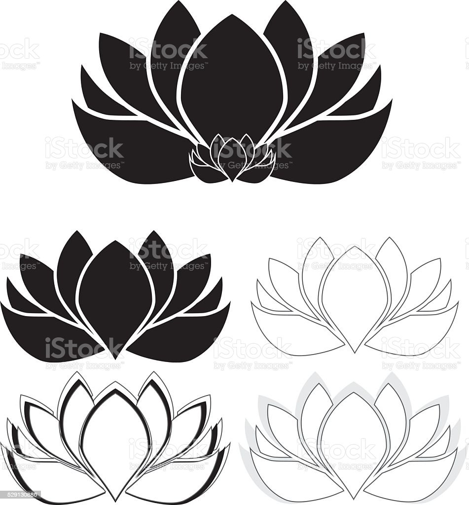 Lotus Flowers Water Lilies Set Stock Vector Art More Images Of