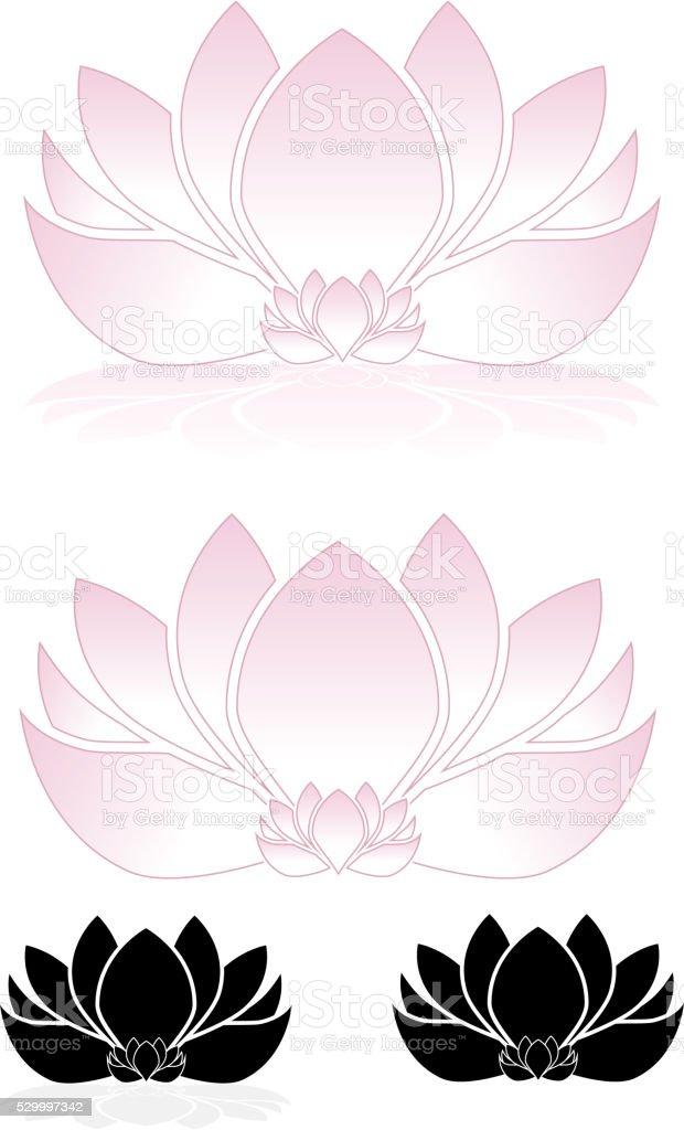 Lotus Flowers, Water Lilies Set vector art illustration