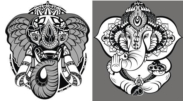 lotus ganesha. mihendi stil - ganesh stock-grafiken, -clipart, -cartoons und -symbole