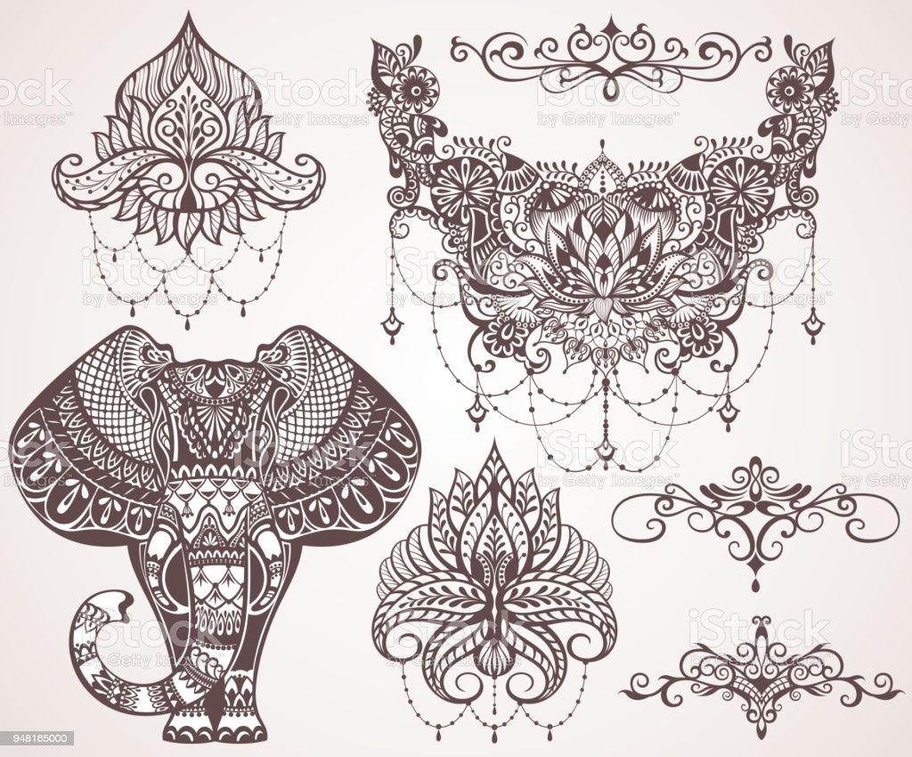 Ilustración de Lotus Hamsa Elefante Ganesha y más banco de imágenes ...