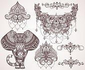 Lotus, hamsa, elephant, Ganesha