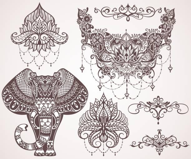 lotus, hamsa, elefant, ganesha - ganesh stock-grafiken, -clipart, -cartoons und -symbole