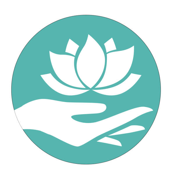 lotus hand - massage stock illustrations