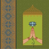 Two hands pressed together in the namaste pose, with a luscious lotus. Lots of ornate details, including floral border and wallpaper pattern. (Includes .jpg)