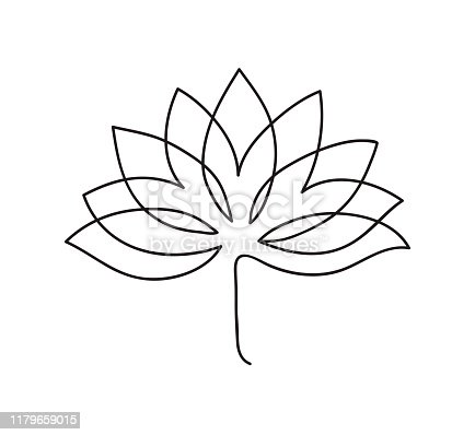 Lotus icon. Logo outline illustration of lotus flower. Black and white hand drawn line art style