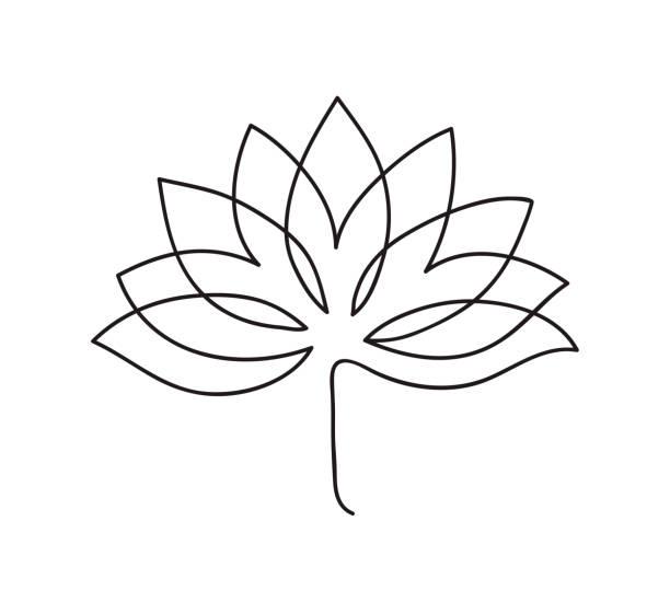 Lotus-Symbol. Logo-Umriss-Illustration der Lotusblüte. Schwarz und weiß handgezeichnete Linie Kunststil – Vektorgrafik