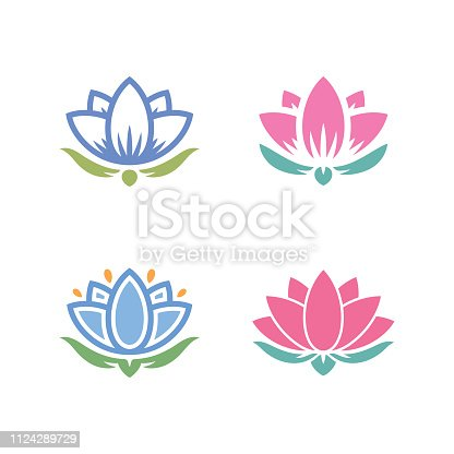 lotus water lily icons simple set