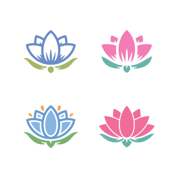 lotus icon set lotus water lily icons simple set water lily stock illustrations