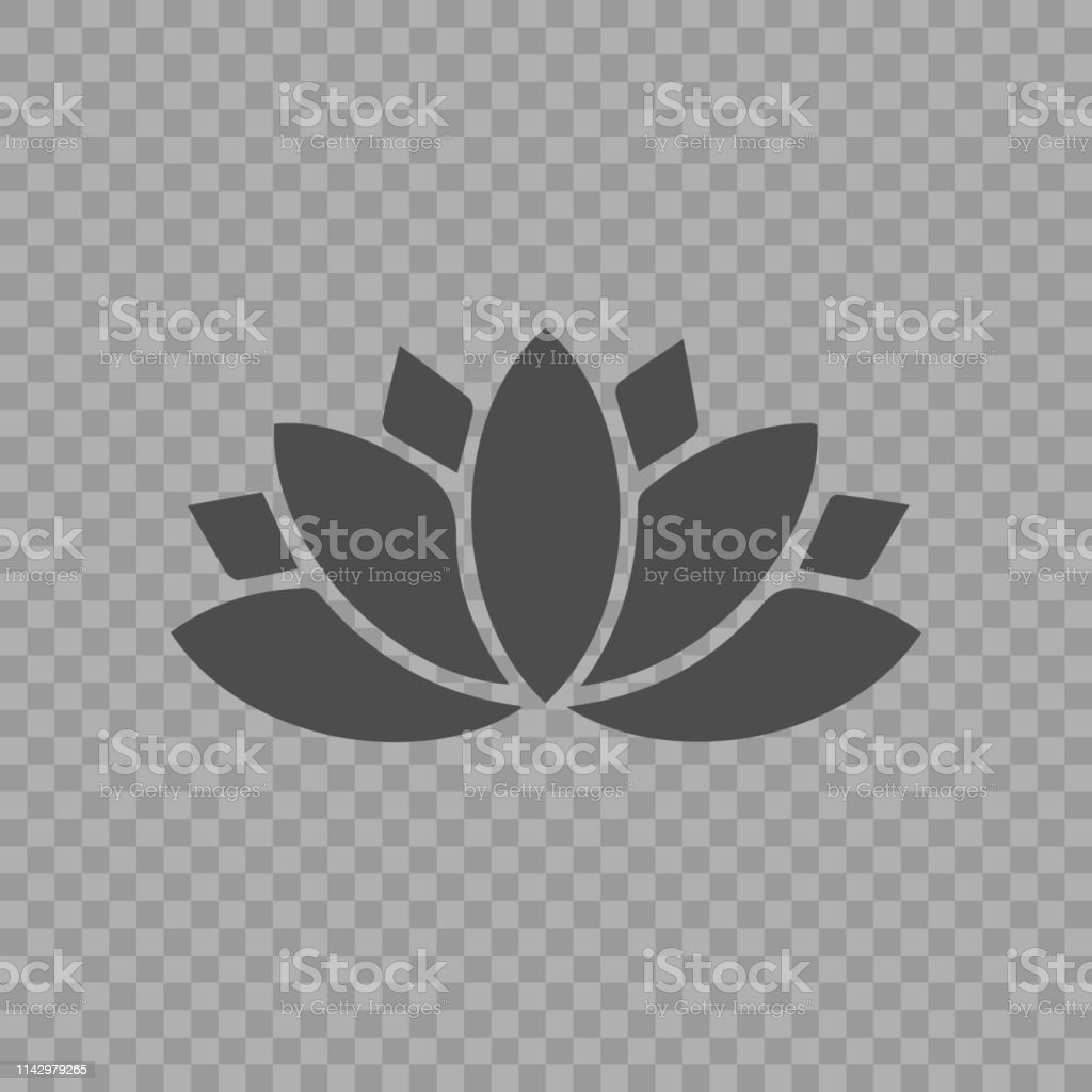 Lotus icon. Yoga symbol simple outline pictogram.