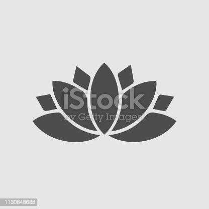 Lotus icon. Yoga symbol simple pictogram.