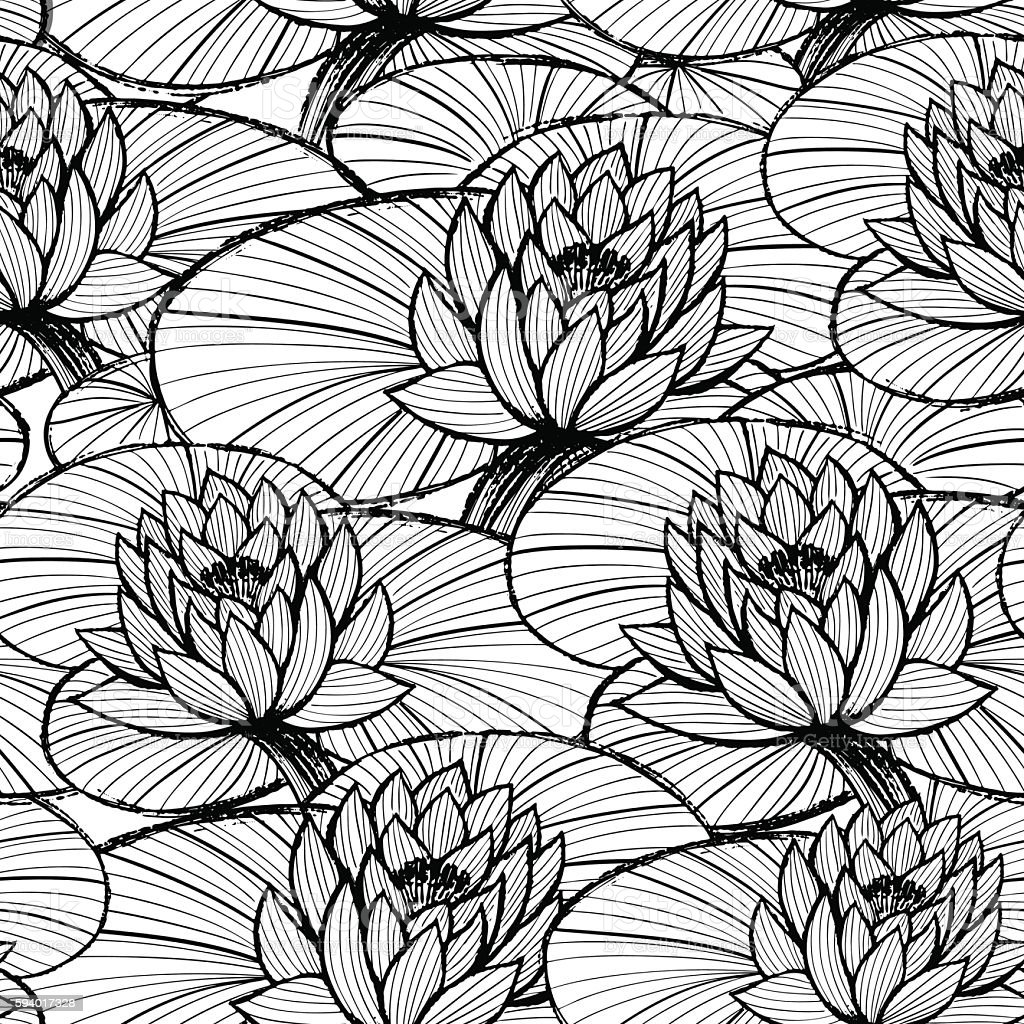 Water Lily Stencil Black And White: Lotus Ink Hand Drawn Seamless Patternblack And White Water