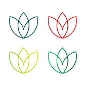Lotus Leaf Logo, editable and printable perfect for use in a wide range of new media templates: Web Marketing Agency, Social Media Services Showcase, Online Marketing Apps, and Web.