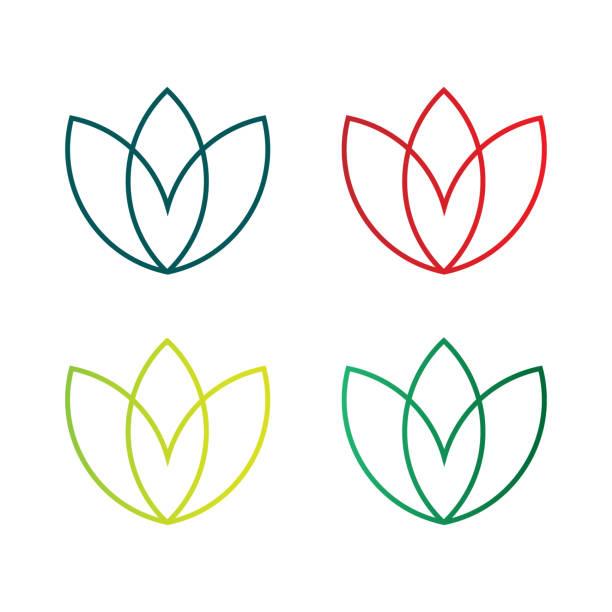 lotus leaf logo - food delivery stock illustrations