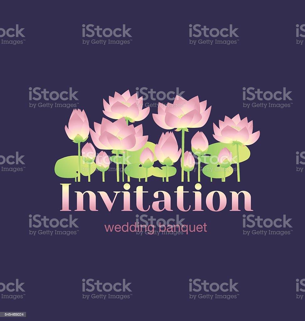 lotus lilies decorative floral invitation card template. vector art illustration