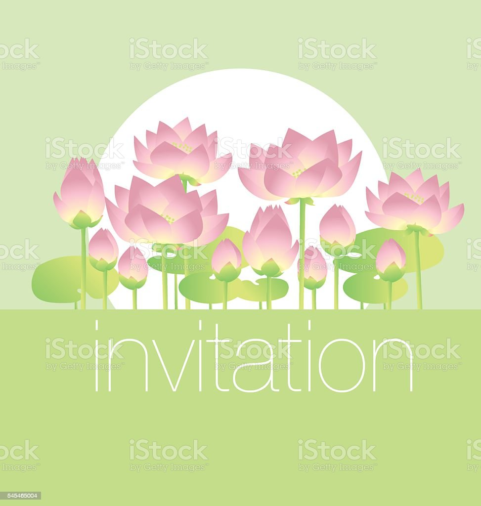 lotus lilies decorative floral invitation card template. vector vector art illustration