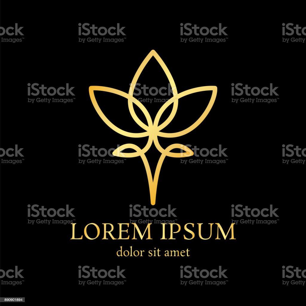 lotus line design template vector art illustration