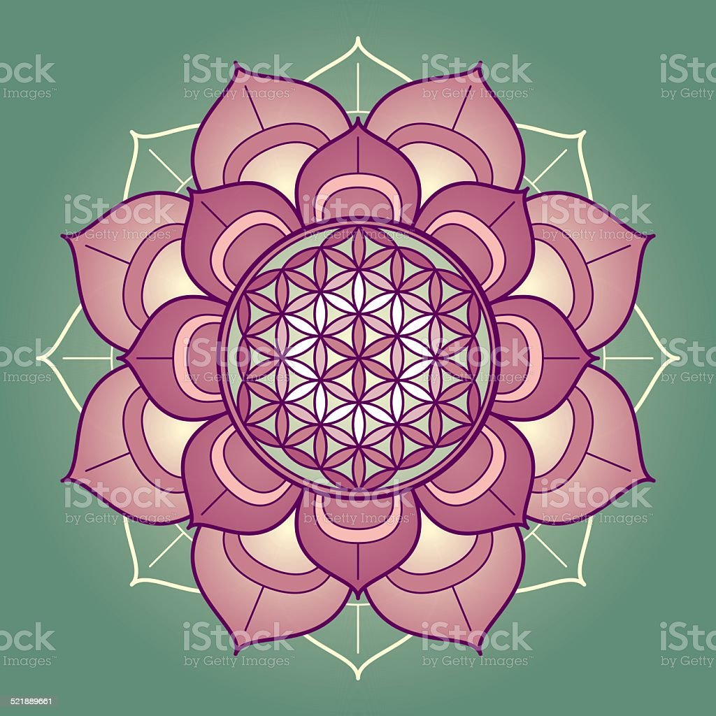 lotus mandala with flower of life stock vector art more images of ancient 521889661 istock. Black Bedroom Furniture Sets. Home Design Ideas