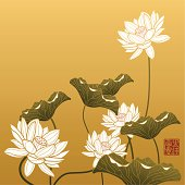 """Image shows lotus painting in chinese style, The red seal means """"Wealth & good fortune"""". come with layers, fully editable. ZIP include Hires jpg, AI 10 & AI CS2."""
