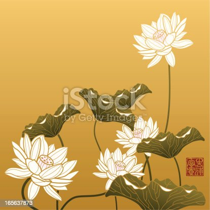 Image shows lotus painting in chinese style, The red seal means