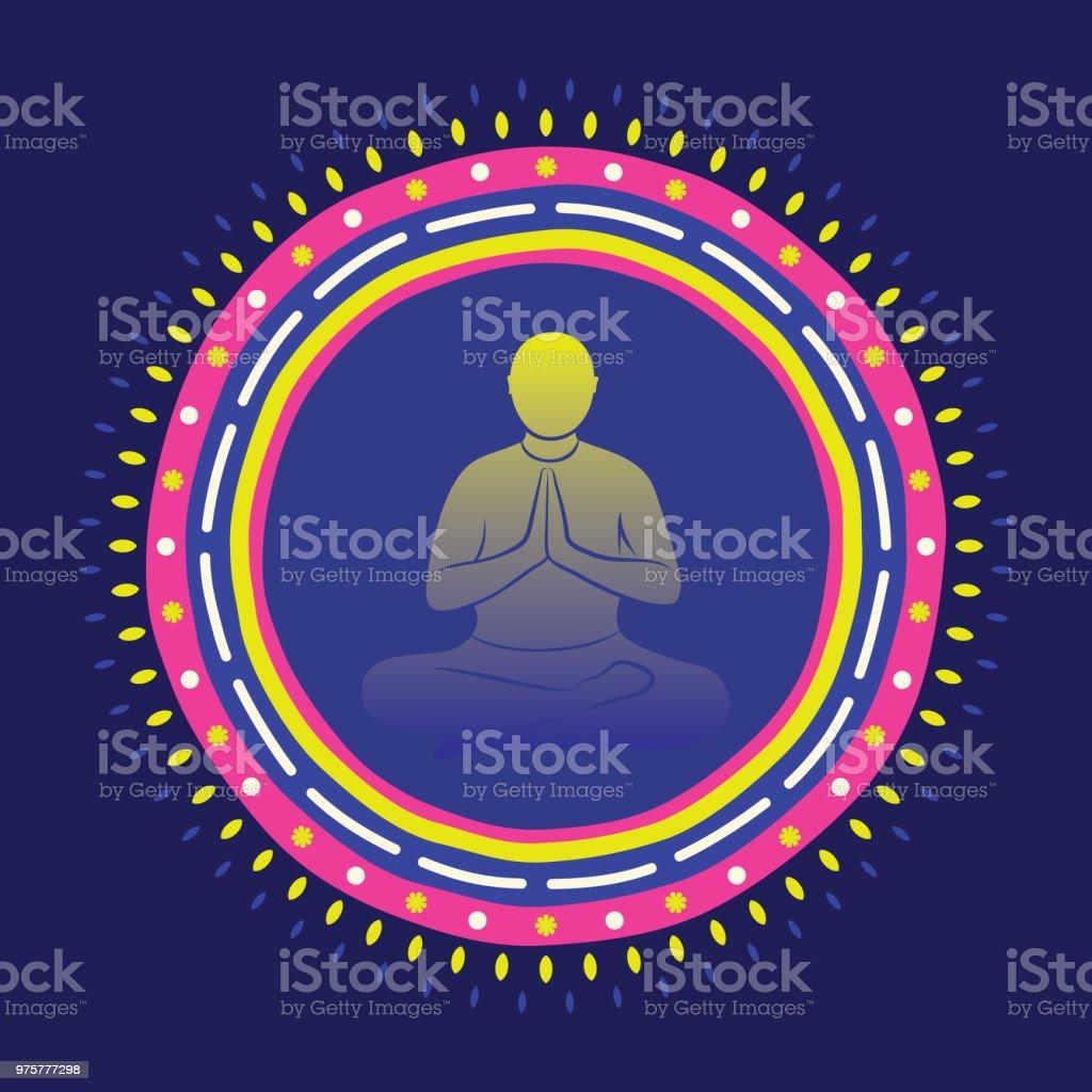 Lotus Pose tun Männer, Yoga Tag - Lizenzfrei Abstrakt Vektorgrafik