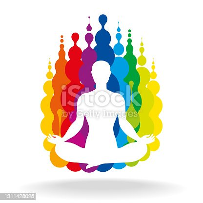istock Lotus Pose With Colourful Fluid Blobs 1311428025