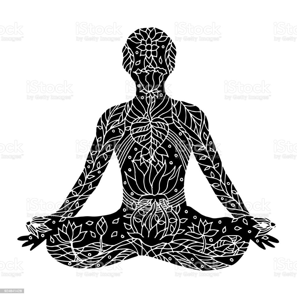 Lotus pose with mudra hands yoga position posture hand drawn vector lotus pose with mudra hands yoga position posture hand drawn vector 7 chakra izmirmasajfo