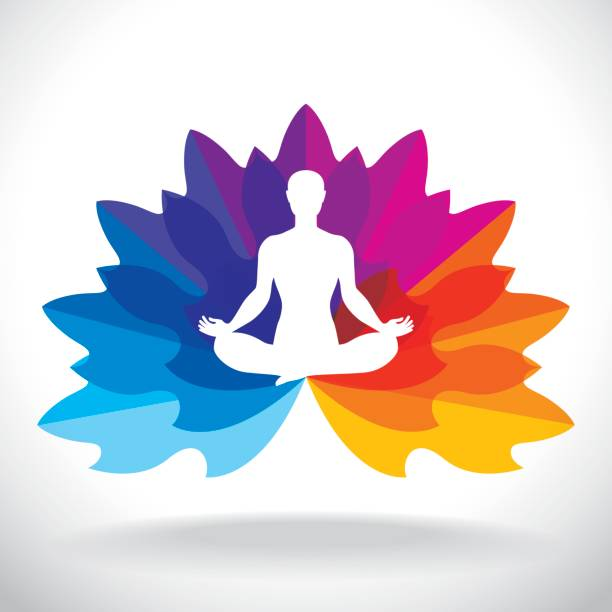 lotus pose with petals - yoga stock illustrations, clip art, cartoons, & icons