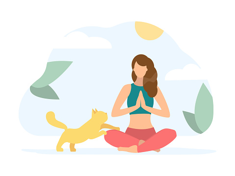 Lotus pose. Woman doing Yoga with cat