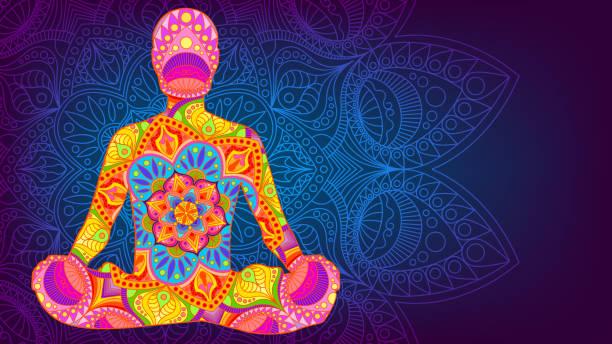 bildbanksillustrationer, clip art samt tecknat material och ikoner med lotus position, mandala, meditation - korslagda ben