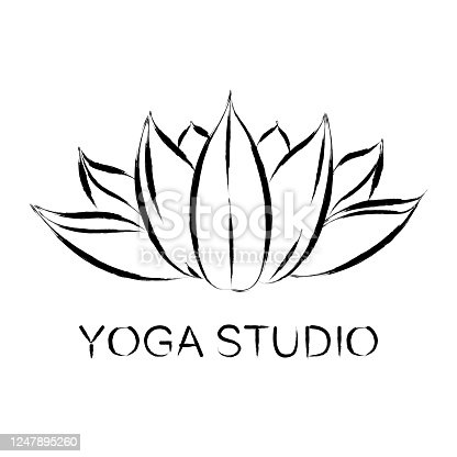 Lotus, stylized image, brush drawing. Vector emblem, logo, icon Handwritten inscription yoga Studio