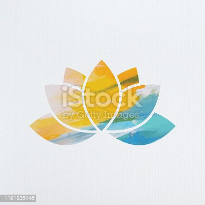Lotus flower made from vectorised acrylic painting and clipping masks placed on background made from image traced paper texture.