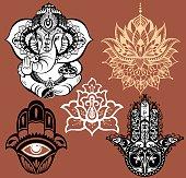 Lotus Symbol,Ganesha,Hamsa.