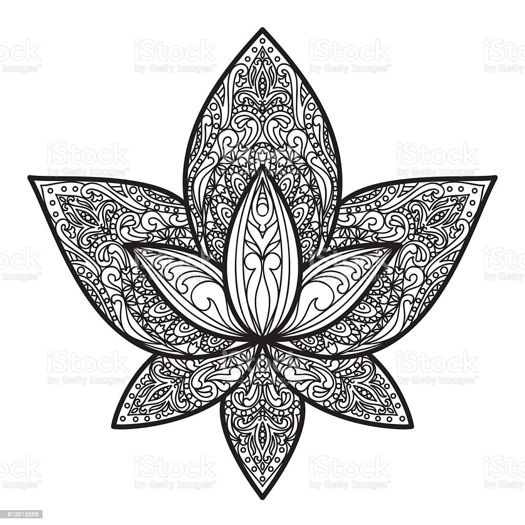 Lotus Tattoo Sign Stock Vector Art More Images Of Abstract