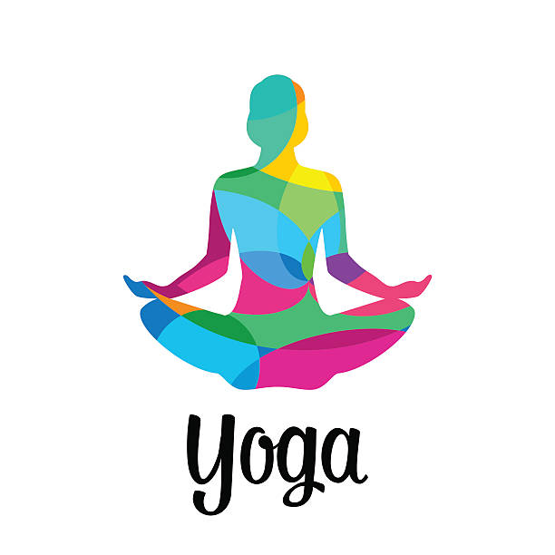 lotus yoga pose icon. vector abstract - yoga stock illustrations, clip art, cartoons, & icons