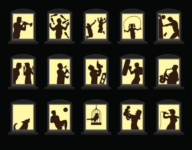 stockillustraties, clipart, cartoons en iconen met luide buren maken lawaai achter de geluiddichte ramen 's nachts. geïsoleerde vectorillustratie op zwarte achtergrond. - buren