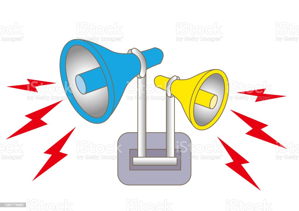 Loudspeaker alarm and siren vector art illustration