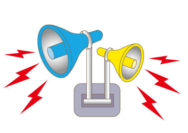 loudspeaker alarm and siren - sound effects stock illustrations, clip art, cartoons, & icons