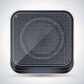 The black loudspeaker square vector icon