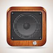 The loudspeaker square vector icon