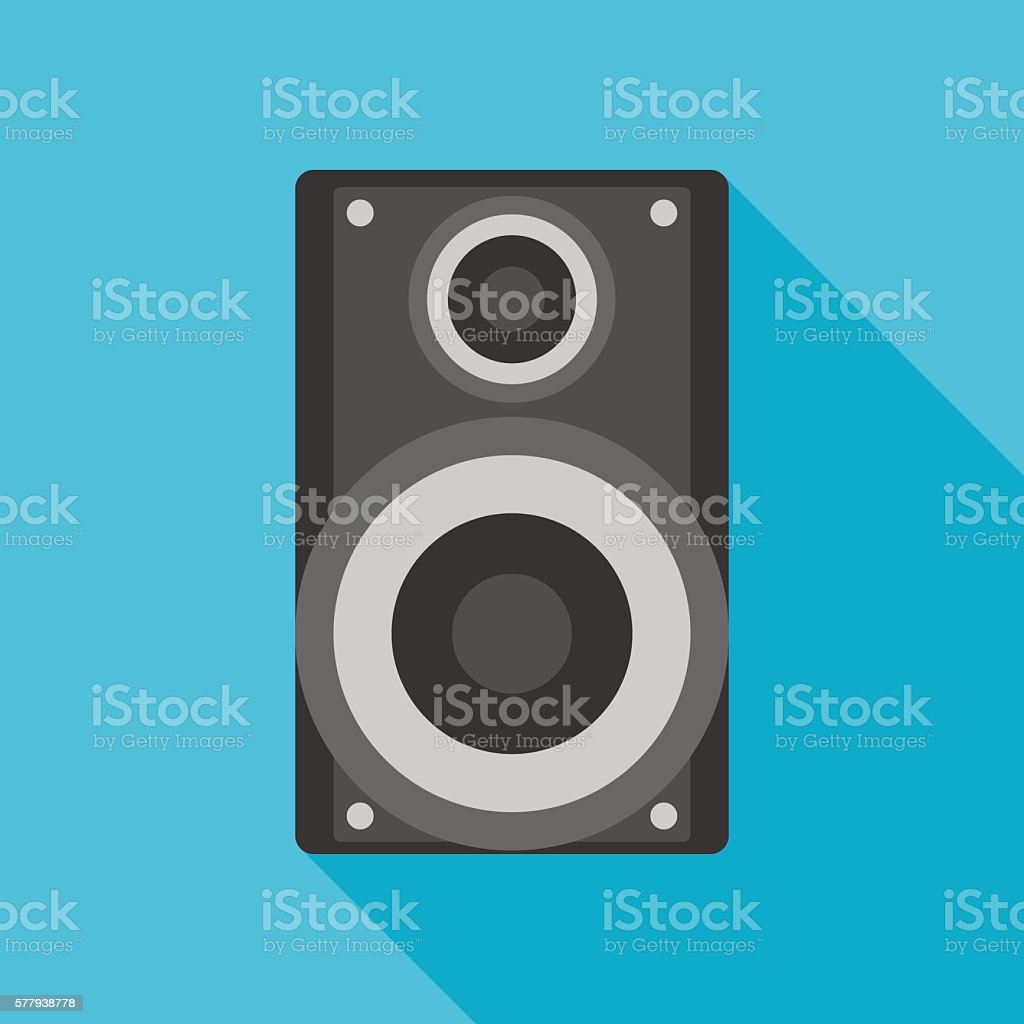 loudspeaker icon with long shadow. flat style vector illustratio