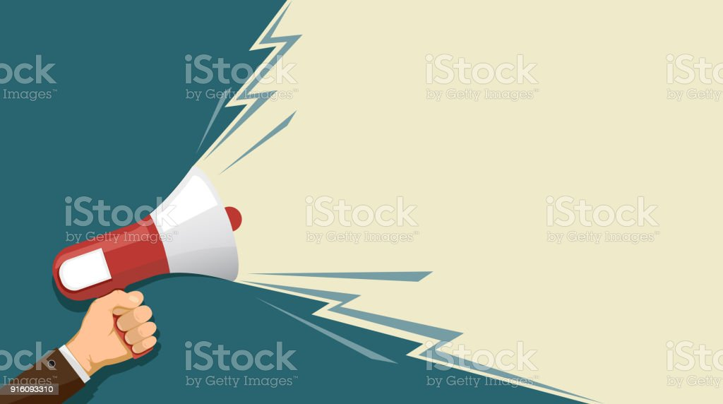 loudspeaker in hand vector art illustration