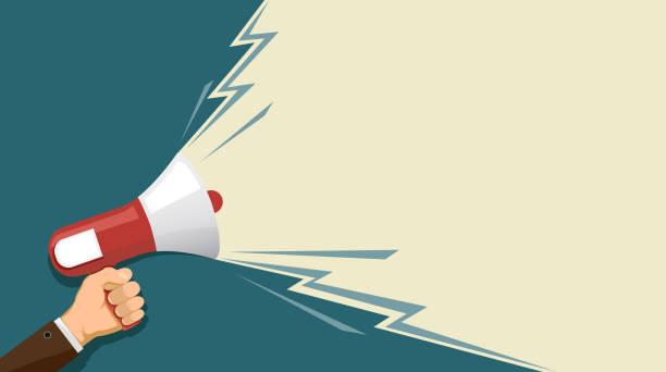 lautsprecher in der hand - megaphone stock-grafiken, -clipart, -cartoons und -symbole