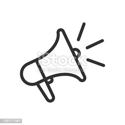 istock Loudspeaker line icon. Megaphone symbol. Vector illustration. 1297171607