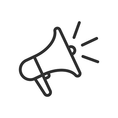 Loudspeaker line icon. Megaphone symbol. Vector illustration. Eps 10.