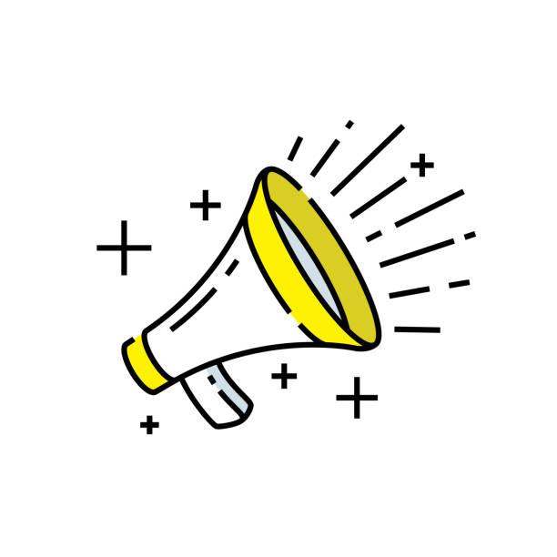 illustrations, cliparts, dessins animés et icônes de icône de ligne de haut-parleur - megaphone