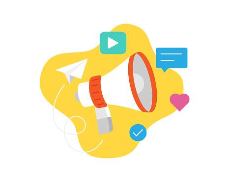 Loudspeaker or megaphone for business promotion