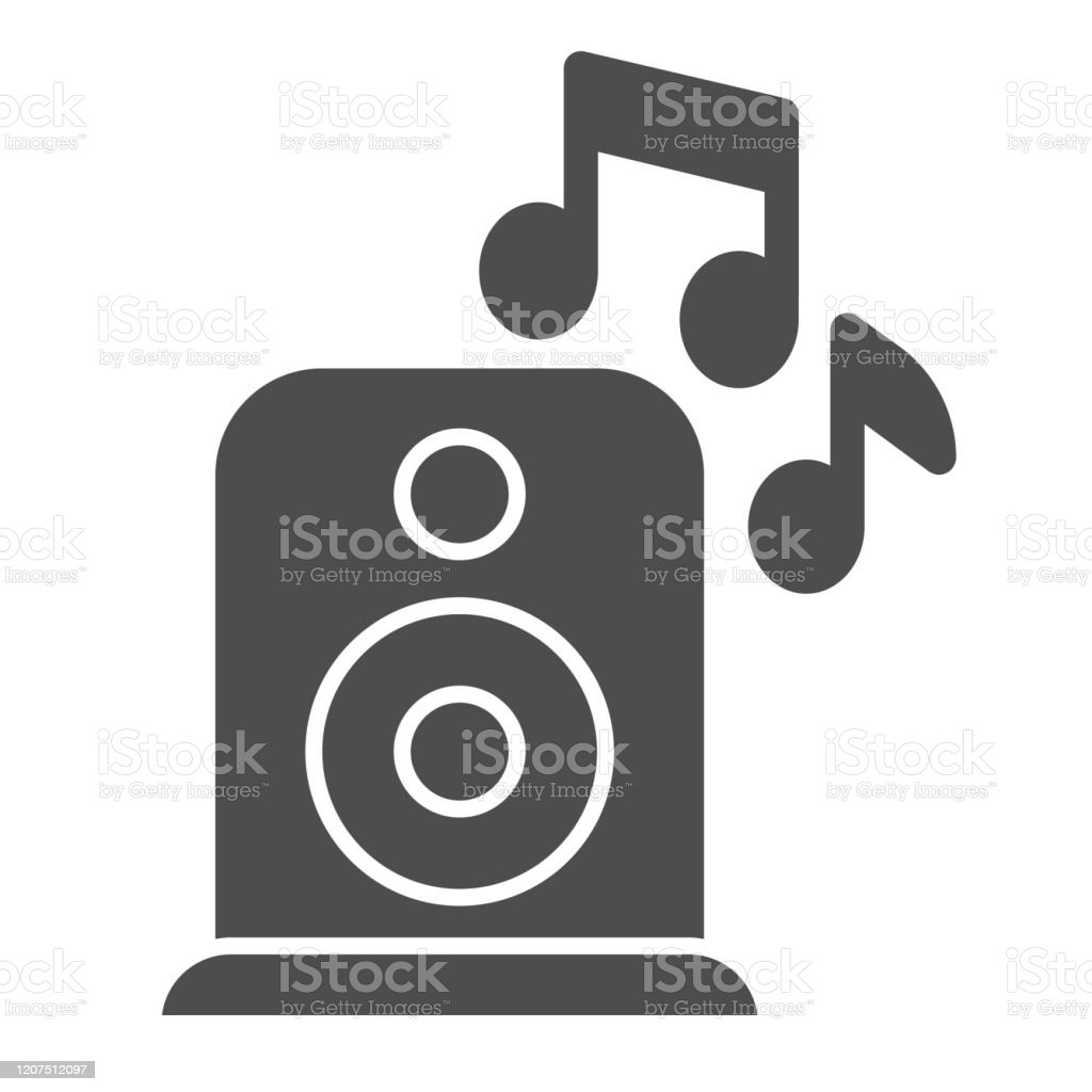 loudspeaker solid icon party audio speaker with music notes birthday celebration vector design concept glyph style pictogram on white background use for web and app eps 10 stock illustration download image https www istockphoto com vector loudspeaker solid icon party audio speaker with music notes birthday celebration gm1207512097 348673379
