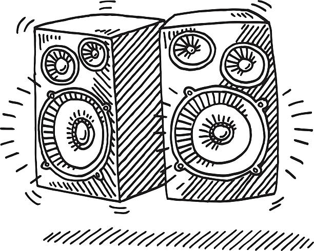 Loudspeaker Sound Drawing Hand-drawn vector drawing of a Pair of Loudspeakers making a groovy Sound. Black-and-White sketch on a transparent background (.eps-file). Included files are EPS (v10) and Hi-Res JPG. celebration stock illustrations